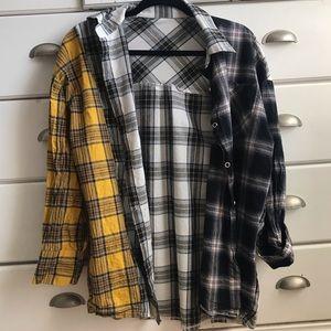 Tops - Kpop Color Block Flannel